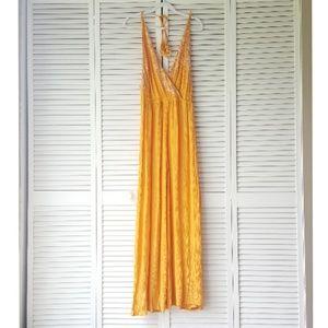 FREE PEOPLE orange floral wide leg jumpsuit L